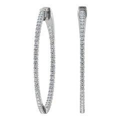 18 Karat White Gold Large Hoop Insideout Diamond Earrings '1 2/5 Carat'