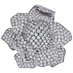 18 Karat White Gold Large Pave Diamond Flower Pin 35 Carat Brooch