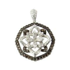 18 Karat White Gold Layered Diamond Flower Pendant