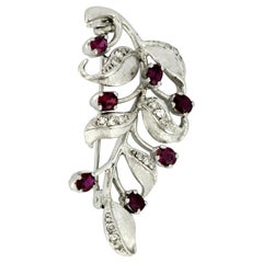 18 Karat White Gold Leaf Brooch with Diamonds and Rubies, 1991
