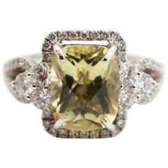 18 Karat White Gold, Lemon Quartz and 1.12 Carat Diamond Ring