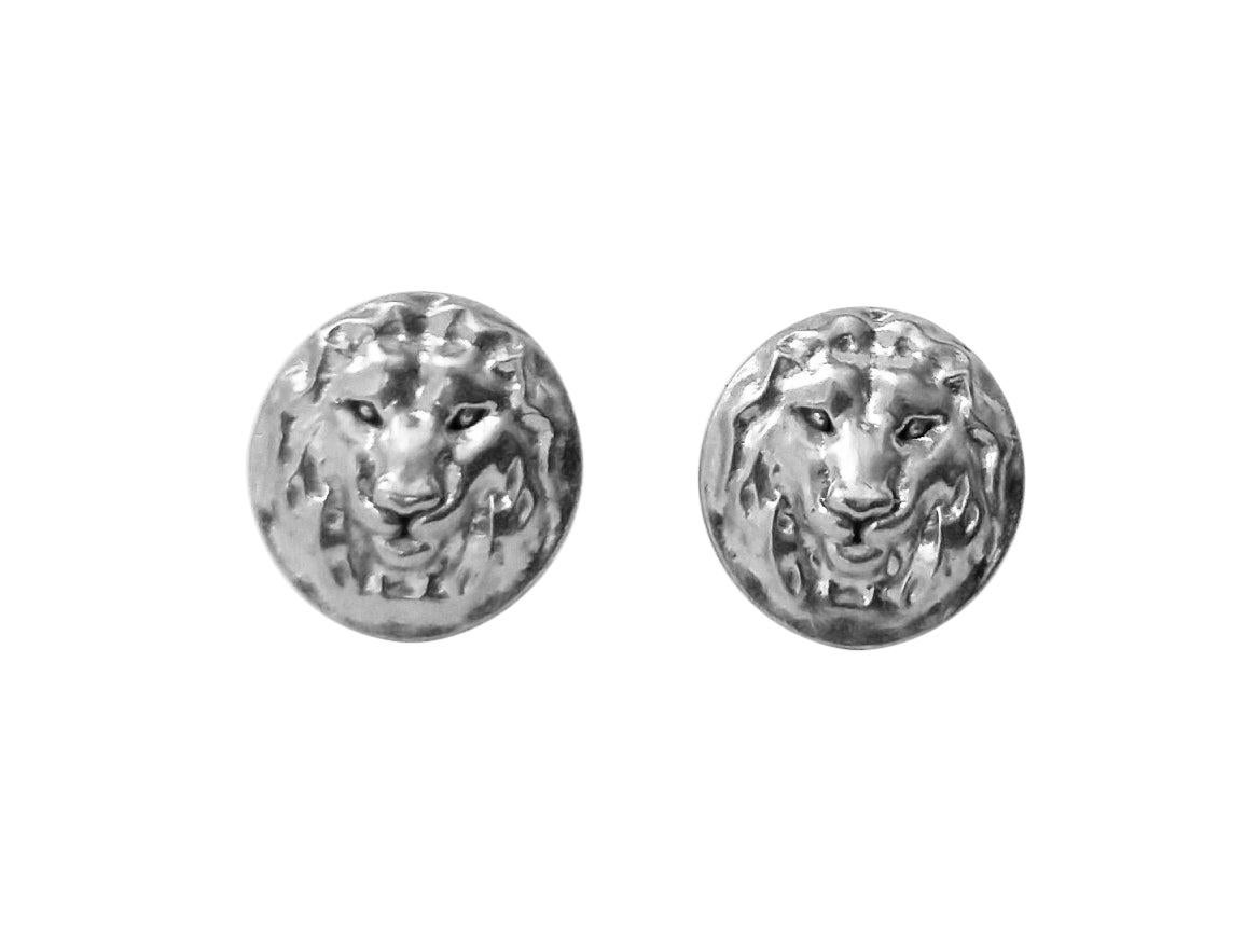 18 Karat White Gold Lion Earrings