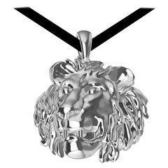 18 Karat White Gold Lion Pendant Necklace
