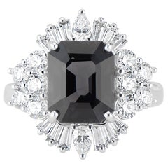 18 Karat White Gold LOLA Deco Inspired Black Spinel and Diamond Ring