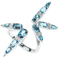 18 Karat White Gold London Blue Topaz and White Diamond Cocktail Ring