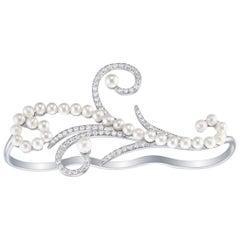 18 Karat White Gold Lucy Pearl 2-Finger Diamond Ring