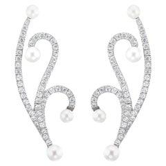 18 Karat White Gold Lucy Pearl Diamond Short Earrings