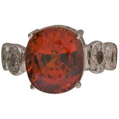 18 Karat White Gold, Mandarin Garnet '8.44 Carat', Diamond '0.62 Carat' Ring