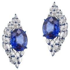 18 Karat White Gold Marquise Diamond and 18 Carat Each Blue Sapphire Earrings