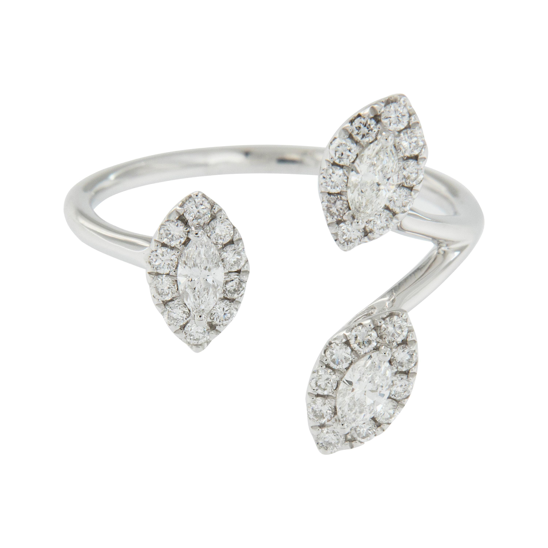 18 Karat White Gold Marquise Halo Diamond Fashion Ring