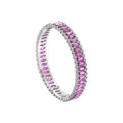 18 Karat White Gold Marquise Pink Sapphire and Diamonds Amore Bangle by Niquesa