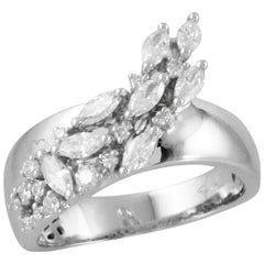 18 Karat White Gold Marquise Waterfall Diamond Fashion Cocktail Ring .69 Carat