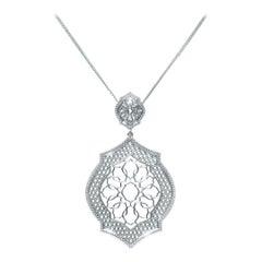 18 Karat White Gold Mauresque Pendant and Chain Necklace Natalie Barney