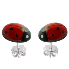 18 Karat White Gold Mediterranean Coral Ladybug Stud Earrings