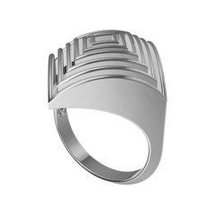 18 Karat White Gold Men's 10.5 Rhombus Rows Ring