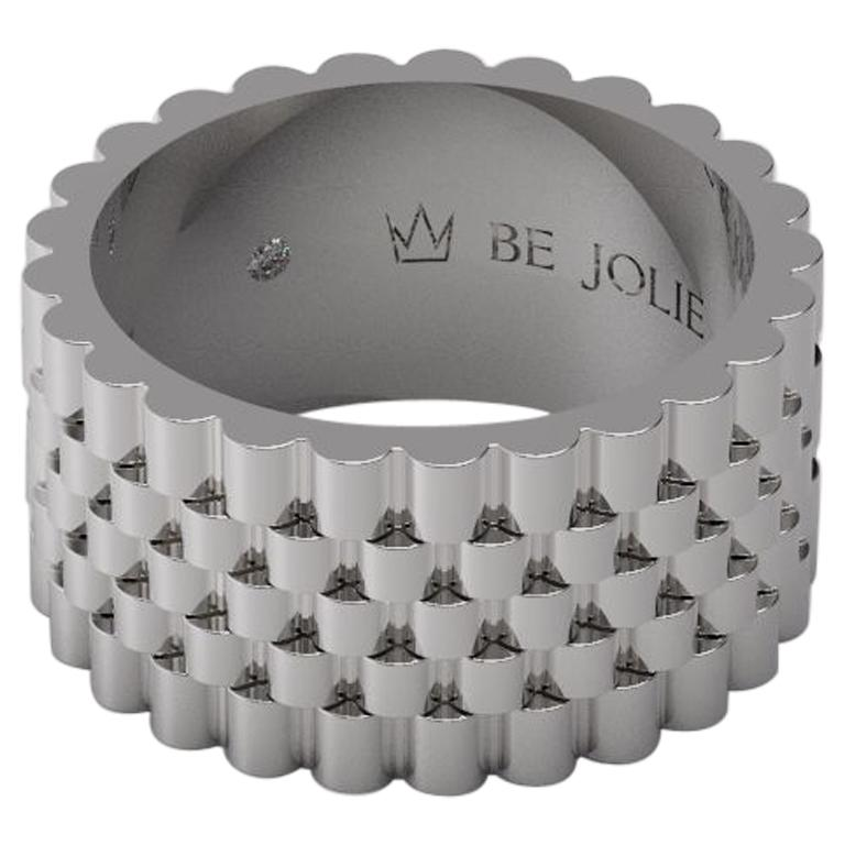 18K White Gold Men's Band Ring