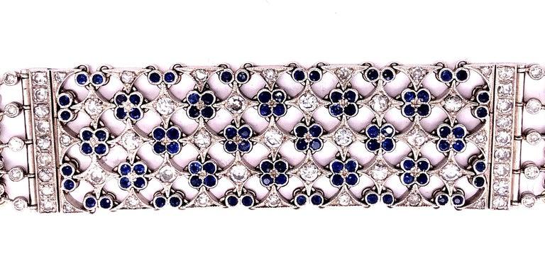 Art Deco 18 Karat White Gold Mesh Sapphire and Diamond Lace Bracelet For Sale