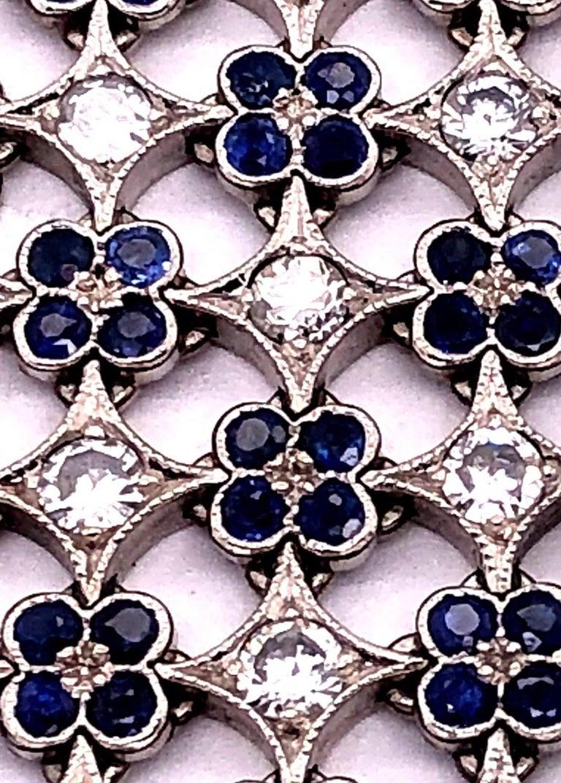Women's or Men's 18 Karat White Gold Mesh Sapphire and Diamond Lace Bracelet For Sale