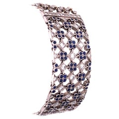 18 Karat White Gold Mesh Sapphire and Diamond Lace Bracelet