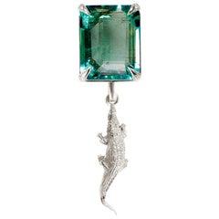 18 Karat White Gold Mesopotamia Contemporary Brooch with Octagon Emerald