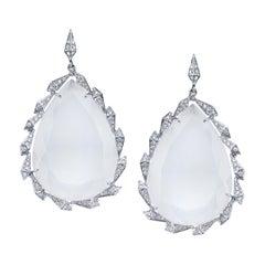 18 Karat White Gold Milky Quartz Trickling Diamond Earrings
