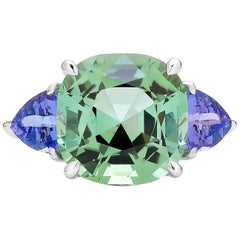 Paolo Costagli 18 Karat White Gold Mint Tourmaline, Tanzanite and Diamond Ring