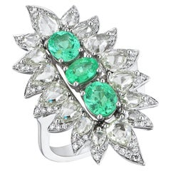 18 Karat White Gold Monan 1.74 Carat Paraiba and 3.37 Carat Diamond Ring