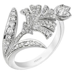18 Karat White Gold Monan Carnation Ring Set with 0.92 Carat of Diamonds