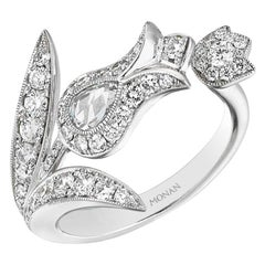 18 Karat White Gold Monan White Tulip Cock Ring Set with 0.83 carat of Diamonds