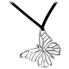 18 Karat White Gold Monarch Butterfly Pendant Necklace