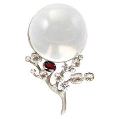 18 Karat White Gold Moon Pendant Necklace, 1.5 Carat Diamonds by the Artist
