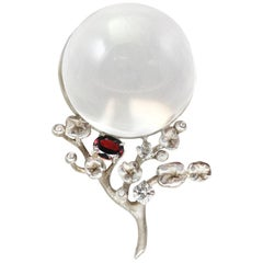 18 Karat White Gold Moon Pendant Necklace by the Artist with Ruby and Diamonds
