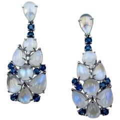 18 Karat White Gold Moonstone Sapphire Diamond Earrings