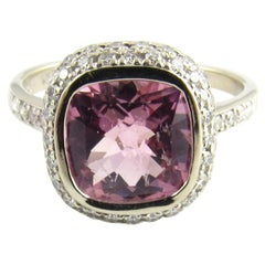 18 Karat White Gold Morganite and Diamond Ring