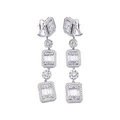 18 Karat White Gold Mosaic Set Diamond Drop Earrings