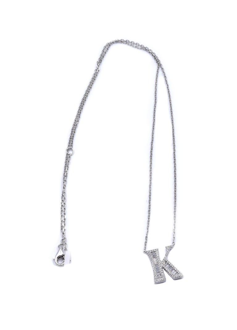 "18 Karat White Gold Mosaic Set Diamond ""K"" Necklace In Excellent Condition For Sale In Scottsdale, AZ"