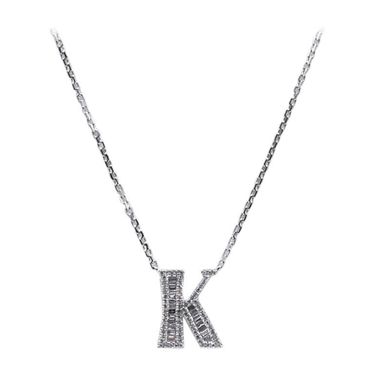 "18 Karat White Gold Mosaic Set Diamond ""K"" Necklace For Sale"