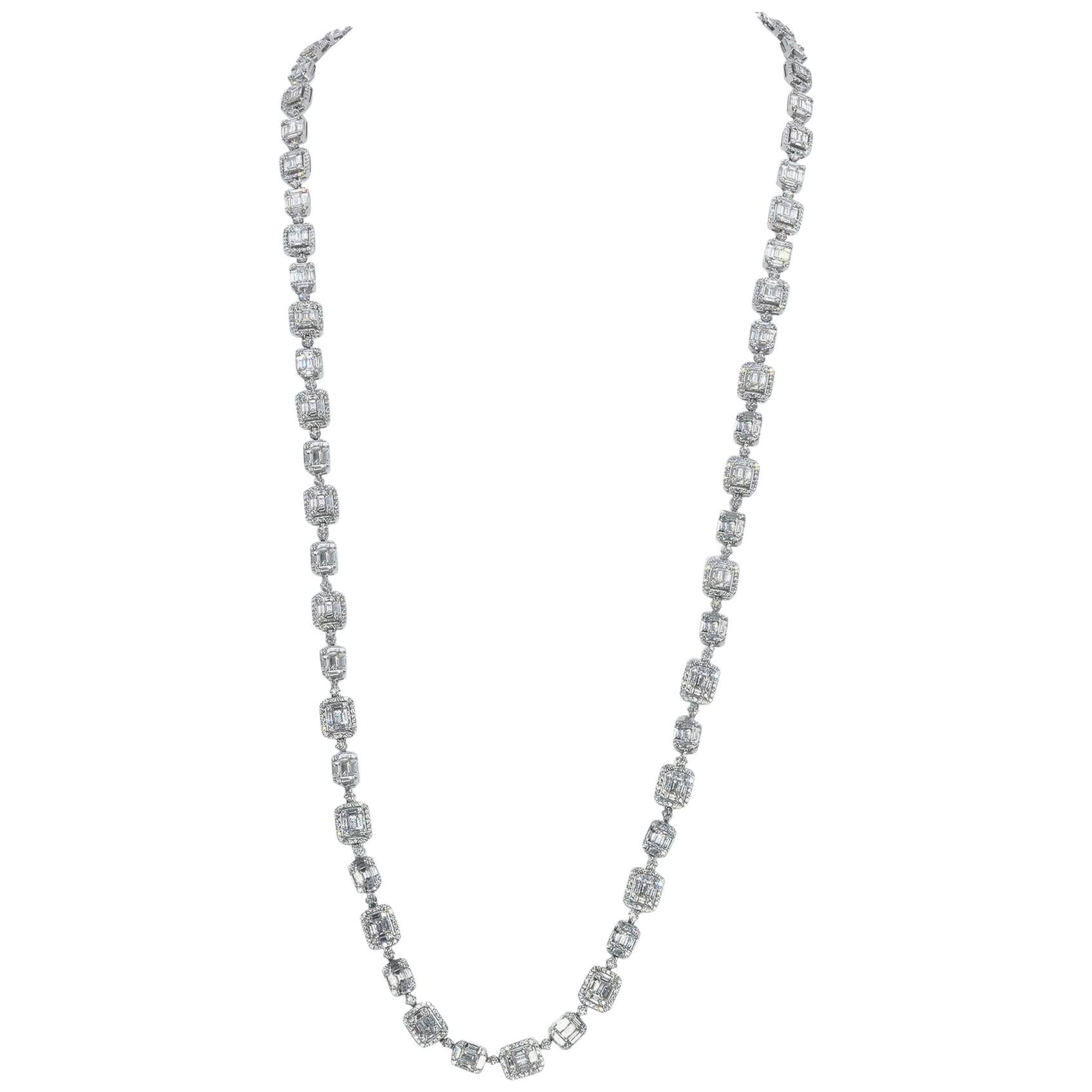18 Karat White Gold Mosaic Set Diamond Station Necklace