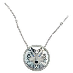 18 Karat White Gold Mother of Pearl, Brilliant cut diamonds, Pendant Necklace