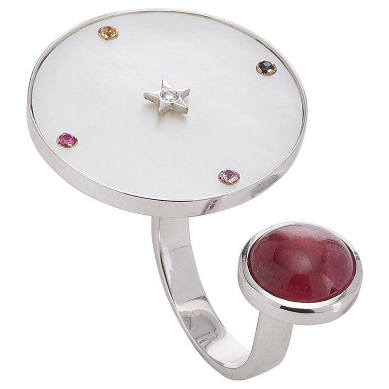18 Karat White Gold, Mother of Pearl, Pink Tourmaline, Sapphire Cocktail Ring For Sale