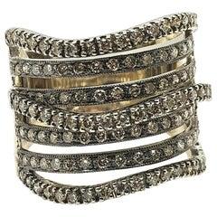 18 Karat White Gold Multi-Band Ring Look with 121 Round Diamonds
