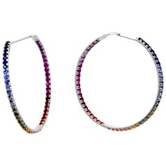 18 Karat White Gold Multi-Color Sapphires Garavelli Large Hoop Earrings
