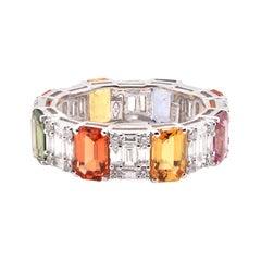 18 Karat White Gold Multi Colored Sapphire and Diamond Eternity Band