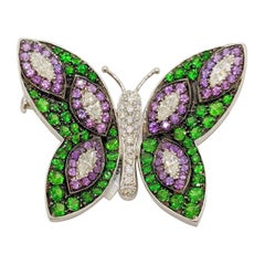 18 Karat White Gold Multi-Gem and Diamonds Butterfly Brooch