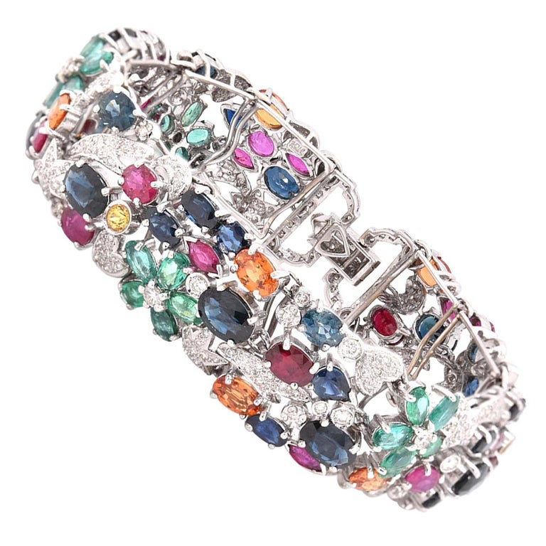 18 Karat White Gold Multi-Gemstone and Diamond Floral Bracelet For Sale