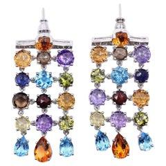 18 Karat White Gold Multi-Gemstone Dangle Earrings