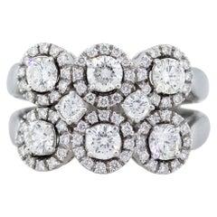 18 Karat White Gold Multi Stone Circle Diamond Ring