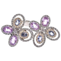 18 Karat White Gold Multicolored Sapphire and Diamond Butterfly Ring