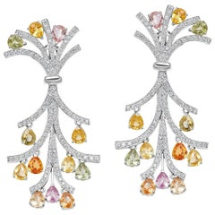 18 Karat White Gold Multicolored Sapphire and Diamond Earrings