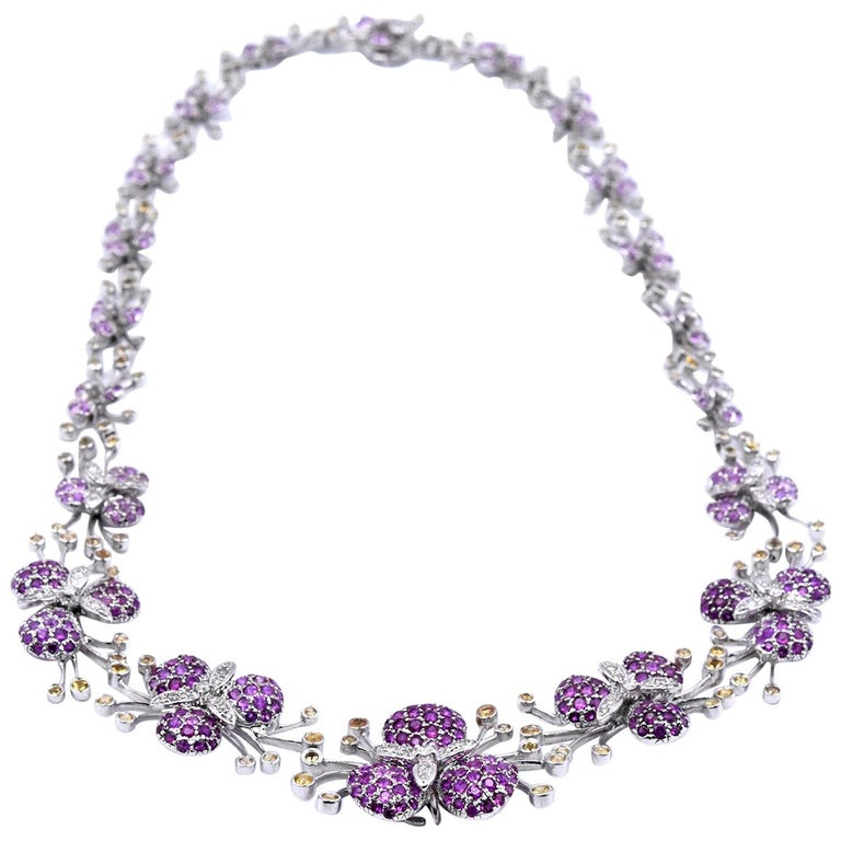 18 Karat White Gold Multicolored Sapphire and Diamond Floral Necklace For Sale